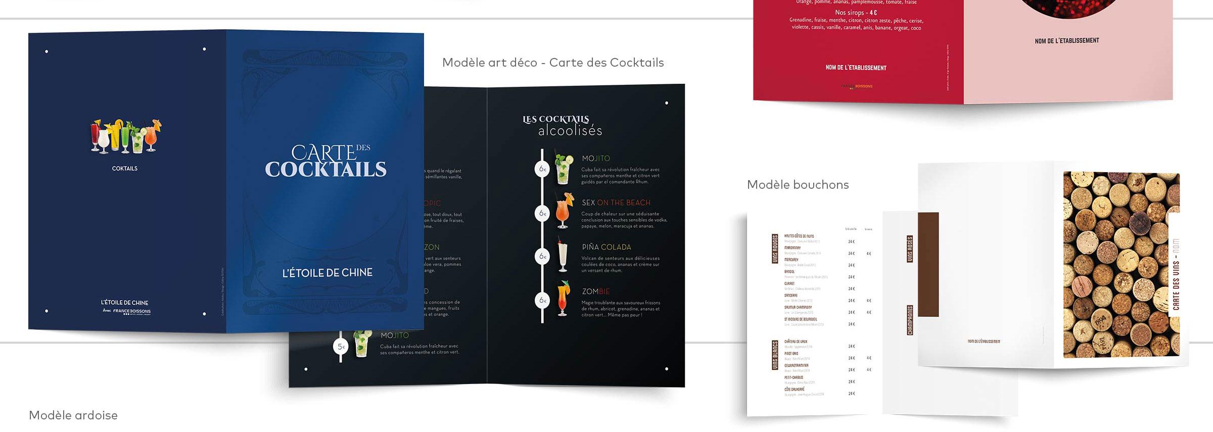 création et impression carte des cocktails