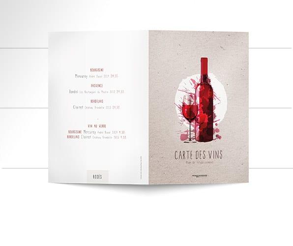 Création et impression de cartes des vins et boissons