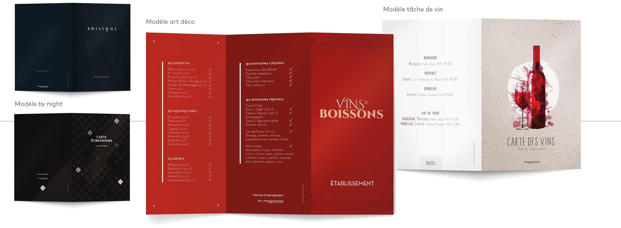 création et impression carte des vins et boissons