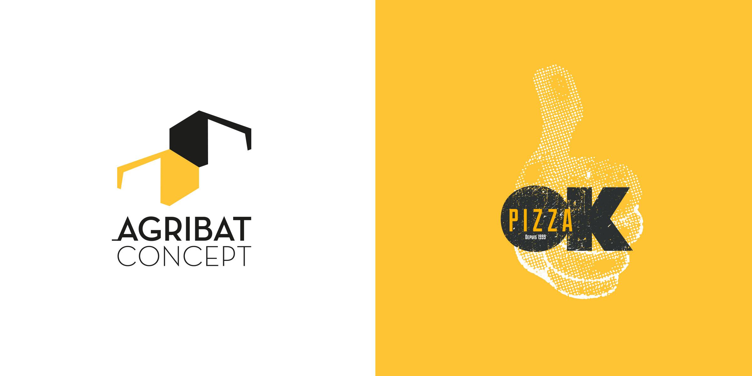 Création logos - Agribat et OK Pizza